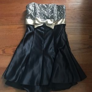 Strapless Gold and Black Homecoming Dress